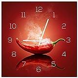 levandeo Wanduhr aus Glas 30x30cm Uhr als Glasbild Küche Gewürze Hot Chili Peperoni Deko