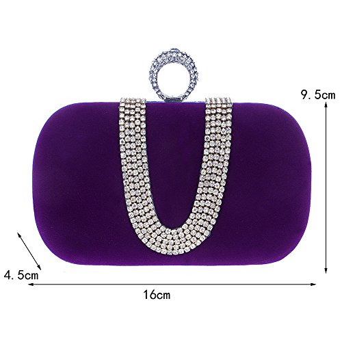 Frauen Abend Kupplung Tasche, Luxus Crystal Reshione Samt Handtasche Brieftasche Handtasche für Party Hochzeit Cocktail Abschlussball Umhängetasche lila