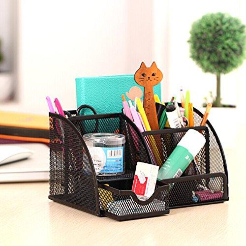 Trendyline Schreibtisch-Organizer, Stiftehalter, schwarz, Metallgitter, 6 Fächer, Bürobedarf, für Zuhause oder Büro - 2