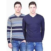Kalt Men's V Neck Reversible Full Sleeves Striped Cotton Sweater