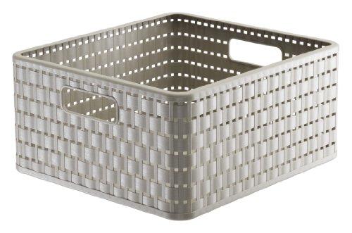 Rotho 1116807422 Aufbewahrungskiste Dekobox Country in Rattan-Optik aus Kunststoff (PP), quadratisch, Inhalt ca. 14 l, ca. 32.8 x 30 x 16 cm (LxBxH), cappuccino (Quadratische Aufbewahrungsbox)