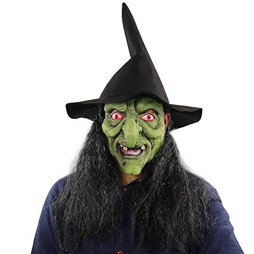 Adult Hexe Gothic Kostüm - UELEGANS Halloween Latex Vollkopf Scary Green Hexe Maske, Kostüm Cosplay, Halloween Maskerade Horror gruselige Maske