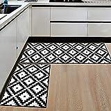 Ommda Küchen Teppiche Läufer Schwarz und weiß Drucken Antiskid Küchenläufer Schlafzimmer Dekorativ mit Gummirückseite 50x80cm+50x160cm