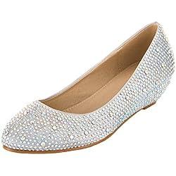 VELCANS Zapatos de Diamantes de Imitación Plateados y Cuñas de Medio Tacón y Baile pare Boda, Novia, Graduación y Fiesta para Mujer (Plateado, 38)