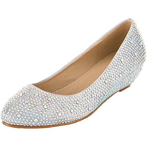 VELCANS Zapatos de Diamantes de Imitación Plateados y Cuñas de Medio Tacón y Baile pare Boda, Novia, Graduación y Fiesta para