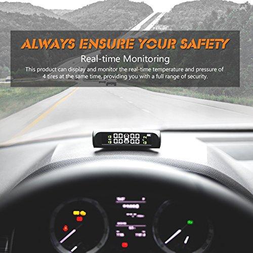 Favoto Reifendruckkontrollsystem Auto TPMS Reifendruck Kontrollsystem Solar 1.5-6 Bar Reifendruckmesser mit 4 Sensoren LCD Display Temperatur Anzeige für Auto, SUV, KFZ (1 Jahr Garantie)