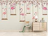 Mbwlkj Fototapete Qualitativ Hochwertige 3D-Effekt Cartoon Kinderzimmer Wandbild Pink Flamingo Schlafzimmer Wohnzimmer Hintergrundbild-200Cmx140Cm