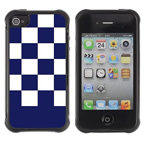 Graphic4You Kariert Muster Design Harte Hülle Case Tasche Schutzhülle für Apple iPhone 4 und 4S (Marineblau) Bleu Marin