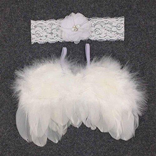 Providethebest Baby Newborn Winkel Feder-Flügel und Blumen-Stirnband-Fotografie Prop-Klage-Kind-Kleidung-Klage Weiß (Beste Eltern Kind Kostüme)