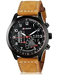 Curren Black Dial Brown Leather Strap Analogue Watch For Men