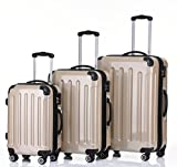 Beibye Trolley da viaggio rigido 2048, con 4 ruote gemellate, misura: M, L, XL, disponibile in 14colori, champagne (beige) - 2048