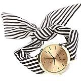 Montre Bracelet Vintage Femme, GongzhuMM 2018 Nouveau Femme Fille Montre Pas Cher a la Mode Femmes Montre-bracelet avec Bracelet Tissu Rayures Floral (35*35*7mm, NOIR)
