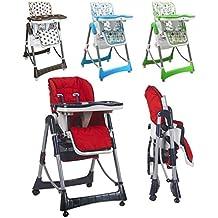 Monsieur Bébé ® Chaise haute enfant pliable, réglable hauteur, dossier et tablette - Quatre coloris - Norme NF EN14988