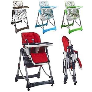 Monsieur Bébé ® Chaise haute enfant pliable, réglable hauteur, dossier et tablette - 4 coloris - Norme NF EN14988 - P'tit Lou