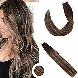 """Ugeat 50g 14"""" Ombre Tape in Extensions Cheveux #2/27/18 Brun Plus Sombre avec Blonde Extensions de Adhesif Cheveux Droit Lisse Humain"""