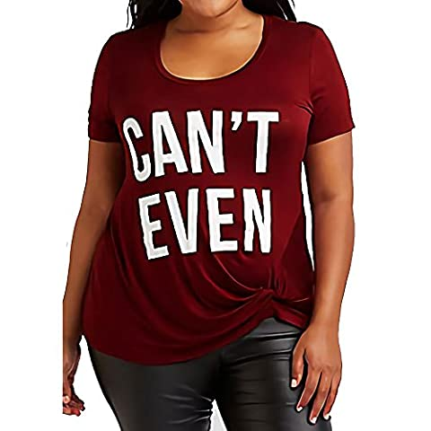 OverDose Women Plus Size T-Shirt CAN'T EVEN (22, Red)