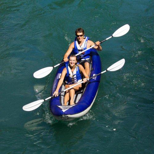 Aquaglide Schlauchboot Aufblasbares Kajak Chinook Tandem Kanu, 390cm x 86cm L B Luftboot 3 Personen -
