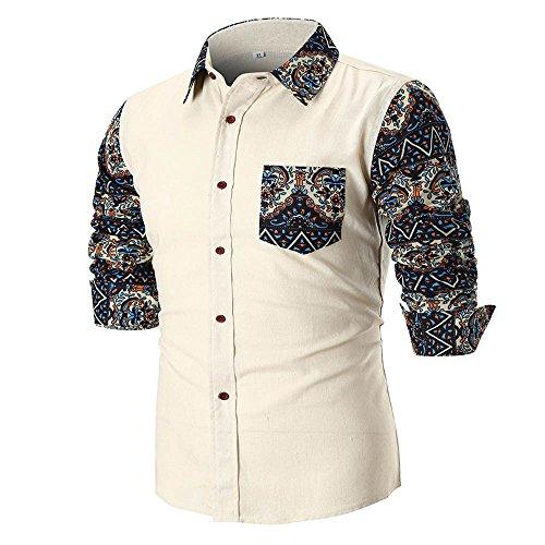 ZIYOU ZIYOU Herren Hemd Slim fit Poloshirts Leinen Langarm Button Down T shirts Tops Bügelleicht Freizeithemd für Freizeit Business M-4XL(M,Weiß)