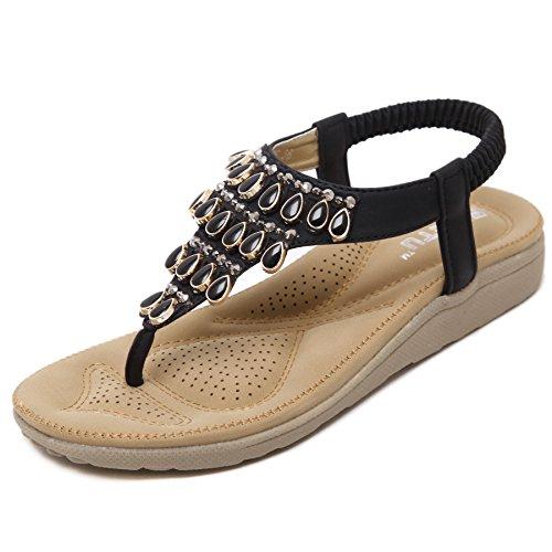 Pantofole Piatte per Scarpe estive da Donna in Stile bohémienScarpe Basse da Donna Scarpe da Spiaggia Nere 39