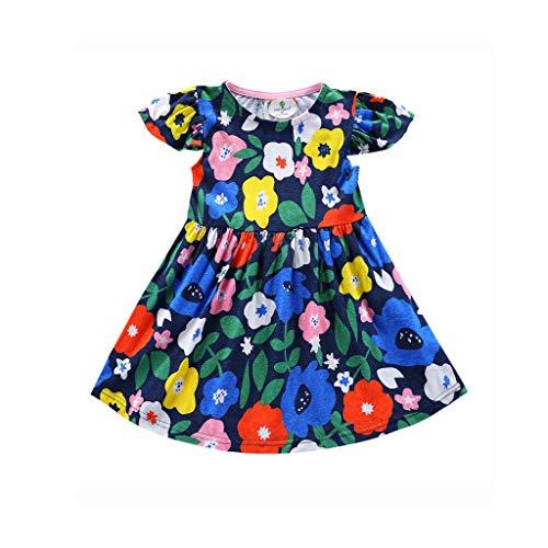 HEETEY Kleinkind-Baby-Mädchen Blumen-Rüschen-Karikatur gedruckte Kleideroutfits Kurzärmliges Kleid mit fliegenden Ärmeln und Blumendruck 4t Mini