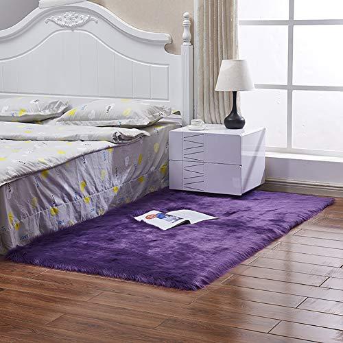 GOPG Künstliche Wolle Teppich, Super Weich Flauschiger Rutschfester und Strapazierfähiger Teppichboden für Wohnzimmer Schlafzimmer Kinderzimmer Esszimmer-Lila-60x90Cm(24x35Zoll)