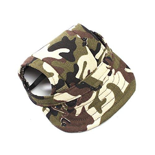 (UEETEK Haustier Hund Canvas Hut Sport Baseball-Cap mit Ohr-Löcher für kleine Hunde - Größe S (Tarnfarbe))