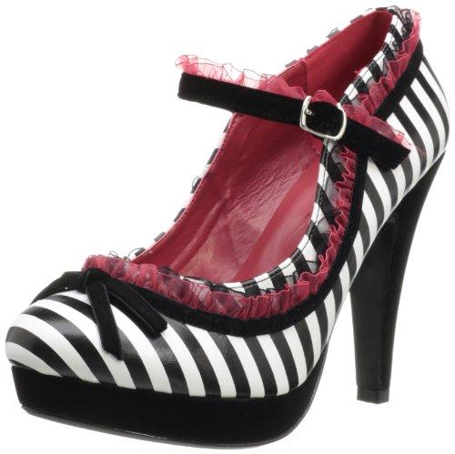 Pinup Couture High Heels Bettie-18 Schwarz/Weiss Blk-Wht Pu
