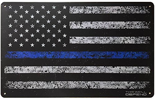 Blaue National Guard (This Well Defend DÜNN Blau Line Schild American Flagge 25,4x 40,6cm Dose Metall Polizei Gesetzeshüter USA Leo Home Decor Man Cave Zubehör Geschenke für Herren)