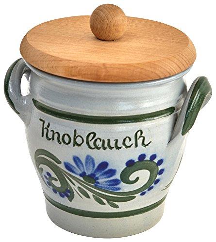 Original westerwälder Kannenbäckerland salzglasierte Steinzeug Keramik Knoblauchtopf mit Holzdeckel (onesize, Kräuterwind)