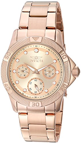Invicta Women's 'Angel' Quartz Stainless Steel Casual Watch, Color:Rose Gold-Toned (Model: 21765)
