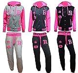 fashionchic femmes Baseball capuche néon R Renard jogging pyjama haut pull à capuche pantalon bas ensemble combinaison survêtement taille 6-14 - Gris, XL-14