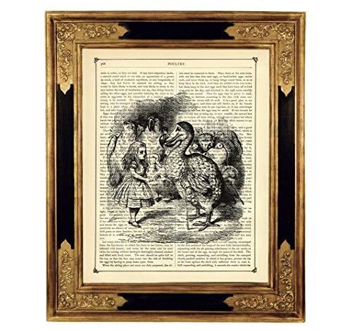 Alice im Wunderland Dodo Vogel Druck Kunstdruck auf antiker Buchseite Verrückter Hutmacher Geschenk Geburtstag Steampunk Poster SW ungerahmt -