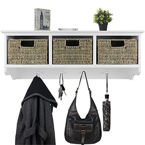 Wandgarderobe 86x24x32cm mit Ablage, 3 Körbe und 4 Haken Flurgarderobe Wandschrank Hängeschrank Holzschrank für Bad und Flur