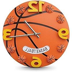 AGECC Habitación Niños Reloj De Pared Reloj De Pared Dormitorio Baloncesto Creativo De Dibujos Animados 3D Reloj De Pared 12 Pulgadas De Baloncesto