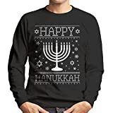Cloud City 7 Happy Hanukkah Menorah Knit Men's Sweatshirt