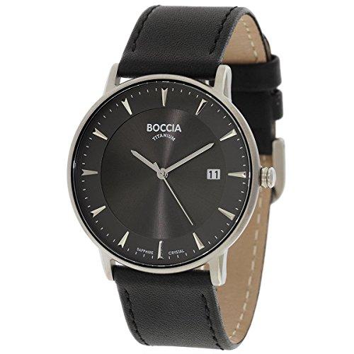 Boccia Herren Digital Quarz Uhr mit Leder Armband 3607-01