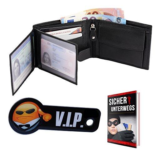 Premium Portemonnaie mit RFID-Blocker aus echtem Leder und Schlüsselschutz-Anhänger in schwarz (Herren Geldbörse im Querformat schützt Kreditkarten vor dem Datenklau) Schwarz/Blau