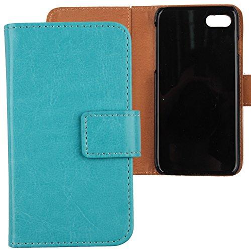 """Gukas Housse Coque Pour Apple iPhone 7 4.7"""" PU Leather Cuir Etui Case Cover Flip Protection Portefeuille Wallet Blanc Bleu"""