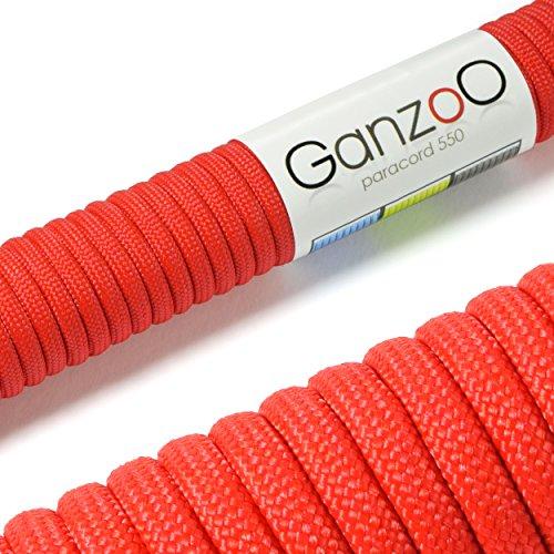 Paracord 550 Seil rot, 31 Meter Nylon-Seil mit 7 Kernfäden, für Armband, Knüpfen von Hunde-Leine oder Hunde-Halsband zum selber machen / Seil mit 4mm Stärke / Mehrzweck-Seil / Survival-Seil / Parachute Cord belastbar bis 250kg (550lbs) - Marke Ganzoo