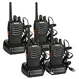 Baofeng BF-88E PMR Funkgerät Set, PMR 446 Walkie Talkie 16 Kanäle Handfunkgerät mit USB Anschluß und Headset, Lizenzfrei (4 Stücke)