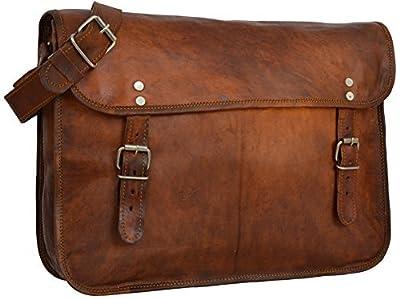 "Gusti Cuir nature ""John"" Sac bandoulière sac notebook 15,4"" sac porté épaule sacoche en cuir vintage ordinateur portable ipad loisirs boucles taille moyenne homme femme marron V61"