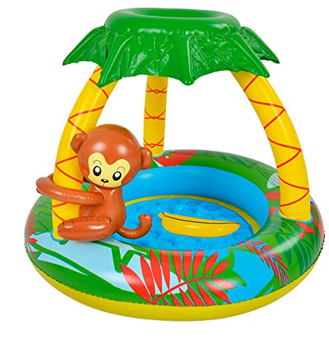 Hillington Summer Sun Inflatable Monkey Baby Pool with Soft Padded Floor and Jungle Sunshade Canopy - Bright and Colourful Paddling Pool - Perfect for Young Children (Monkey)