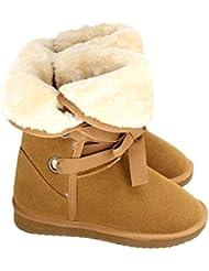 Zeagoo bottes de neige fausse fourrure chaussures boots chaude sangles de cheville pour femme hiver suede 37- 41