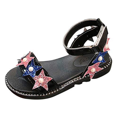 Kobay Sommer Babyschuhe Baby Mädchen Bling Pailletten Star Pearl Princess Schuhe Sandalen(32/8-9T,Schwarz) - Schwarze Schuhe 9t