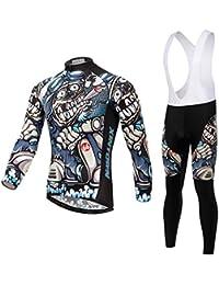 Promociones,Skysper Hombres Jersey Pantalones Largos Mangas Largas de Ciclismo Ropa Maillot para Deportes al aire libre Ciclo Bicicleta