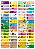 Sunnywall Namensaufkleber Namen Sticker Aufkleber Sticker 4,8x1,6cm | 60 Stück für Kinder Schule und Kindergarten 38 Hintergründe zur Auswahl (Mixbogen)