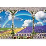 Vlies Fototapete PREMIUM PLUS Wand Foto Tapete Wand Bild Vliestapete - Bogen Landschaft Regenbogen Blumen Himmel Feld Lavendel - no. 1193, Größe: 368 x 254 cm Vlies