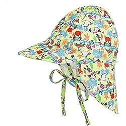 LACOFIA Sombrero de Playa de protección Solar para bebé Gorro de Verano de Solapa Ajustable Super Suave para niños Cangrejo 6-18 Meses