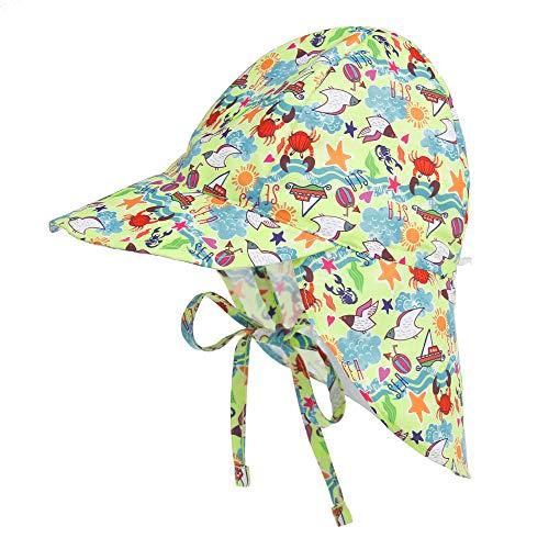 LACOFIA Baby Sonnenhut mit Bindebändern und Nackenschutz Kinder Strand Mützen Kleinkind Sommer Visier Cap Krabbe 6-18 Monate
