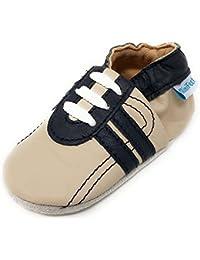 MiniFeet, Chaussures Bébé en Cuir Souple - Chaussons Bébé - Chaussures Premiers Pas - 0-6, 6-12, 12-18, 18-24 Mois et 2-3, 3-4 Ans